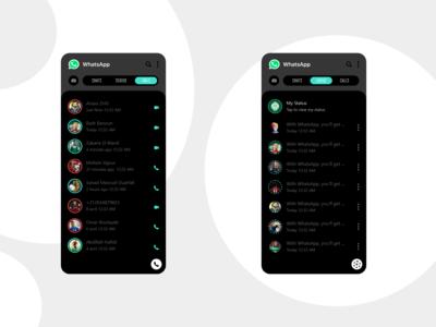 Status & Calls Whatsapp App REDESIGN dark mode