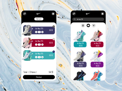 Nike shopping store cart search APP REDESIGN