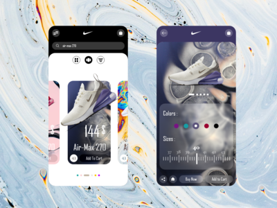 Nike shopping store page product swipe APP REDESIGN
