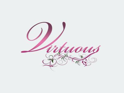 WOFICC Virtuous Logo fancy logo purple flowers art ministry women church typography