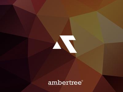 Ambertree Creative Agency Logo mark (AT) marketing creative triangles background abstract illustration branding logo