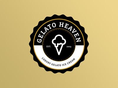 Gelato Heaven Concept seal illustrator ice cream concept gelato crest ice cream badge