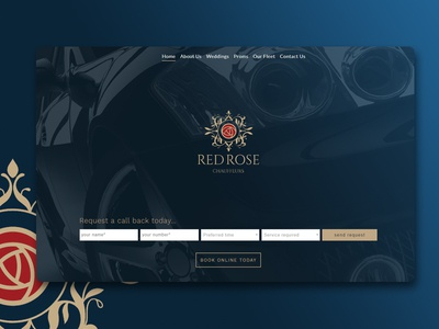 Red Rose Chauffeurs Home Landing Page big hero gradient css luxury cars theme wordpress html cars ux forms website chauffeurs