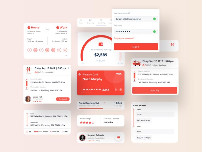 Carpool app design component