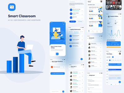 Smart Classroom share screen student progress chat video call virtual classroom study online school learning app education dashboard mobiledesign ux ui