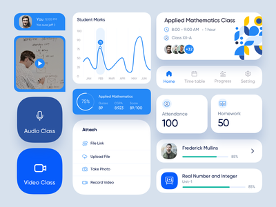 Class Room App Design components course students learning design system teacher classroom elements component mobiledesign ux ui