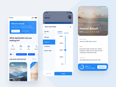 Trip planner filter cards booking distance pandemic covid19 trip planner trip mobiledesign ux ui