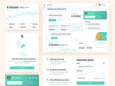 Banking Dashboard cards onboarding login portfolio investment investing banking webdesign dashboard ux ui