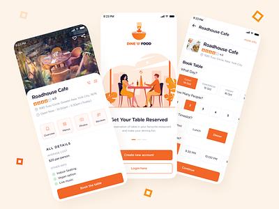 Dine O Food food reservation booking dinning restaurant table onboarding mobiledesign ux ui