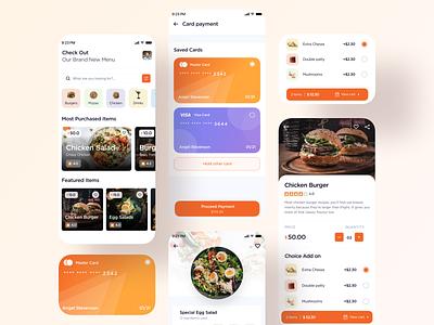 Food Menu booking table payment method cart recipe cards payment restaurant menu food mobiledesign ux ui