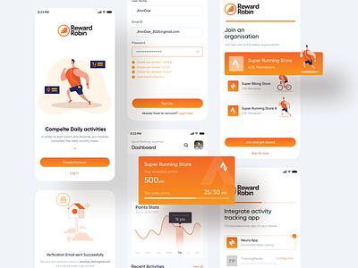 Reward App daily activity biking running activity points cards reward onboarding illustration dashboard mobiledesign ux ui