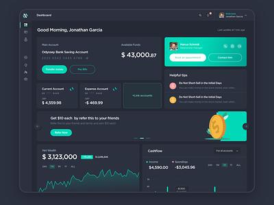 Bank Dashboard graphs accounts fintech money banking dark dashboard dark ui webdesign dashboard ux ui