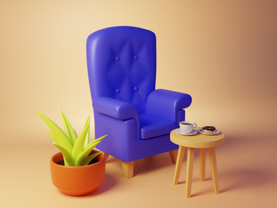 3D Chair Ambience blender 3d 3d illustration illustraion snacks coffee chair render blender3d blender