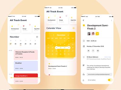 Task Event App mobiledesign ui  ux designevent tracks schedule calendar timeline event task design minimal ux ui