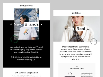 StockX Brand Refresh - Emails stockx nike sneakers streetwear campaign retail shopping fashion email design email strelioff typography layout branding type photography design