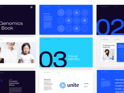 Unite Genomics Branding - Brand Book strelioff photography layout type design startup medical logo biology biotech tech medical app medical logo branding brand guidelines