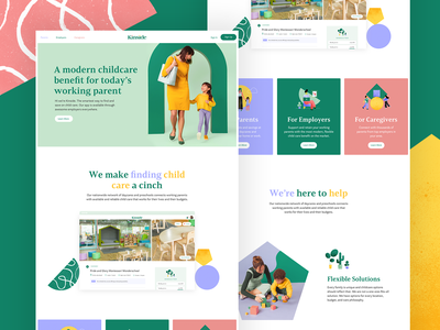 Kinside Branding - Home Page shapes art direction day care kids children landing page home page startup photography logo child care branding website