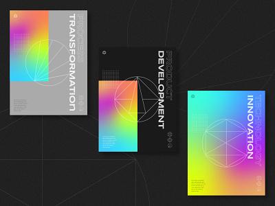 Technology Firm Branding - Posters development rainbow linear technical technology startup layout type design branding