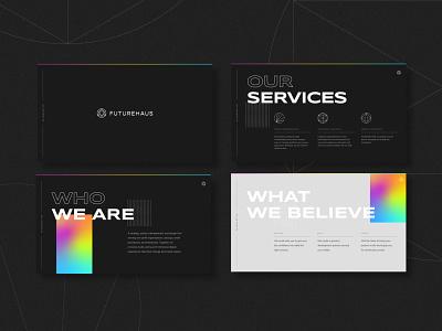 Technology Firm Branding - Presentation Deck rainbow gradient technology tech deck website startup typography logo layout type design branding