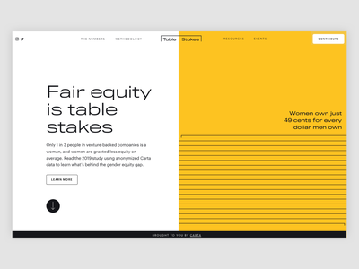 Carta's Table Stakes - Website brand design website finances typography layout type branding ui infographic data visulization finance carta fintech equality women