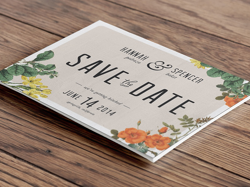 Save The Date wedding invitation flowers save the date engagement typography ampersand type elegant wood