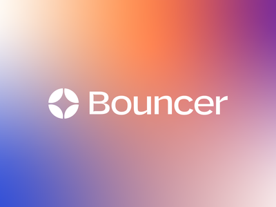 Bouncer Logo gradient typography startup ui scanning card security technology finance logo branding app fintech