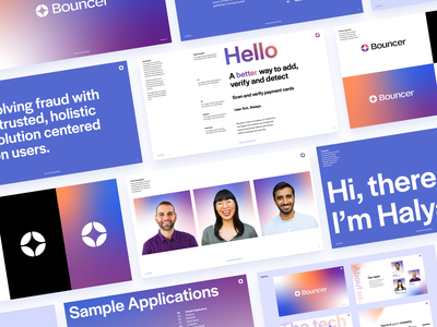 Bouncer Brand Guidelines layout ui typography saas b2b startup fintech app brand guide security fintech gradient logo branding brand guidelines