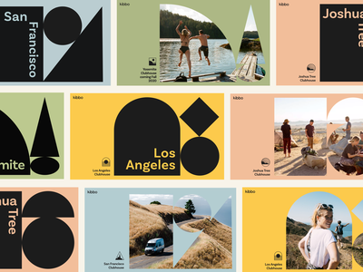 Kibbo Brand hotel hospitality shapes geometric logo icons ui startup photography van life california travel type layout branding