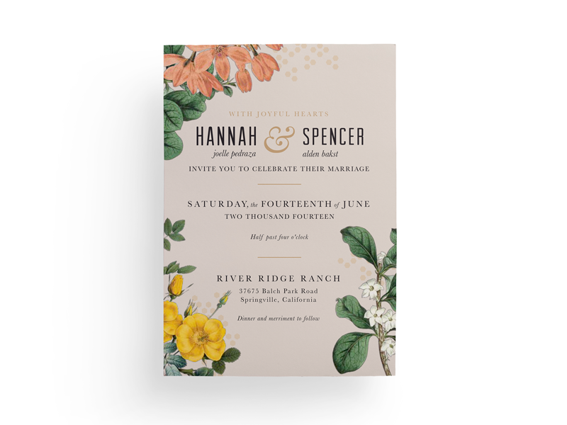 Hannah & Spencer invitation wedding love floral type typography layout design vintage jessica strelioff flowers
