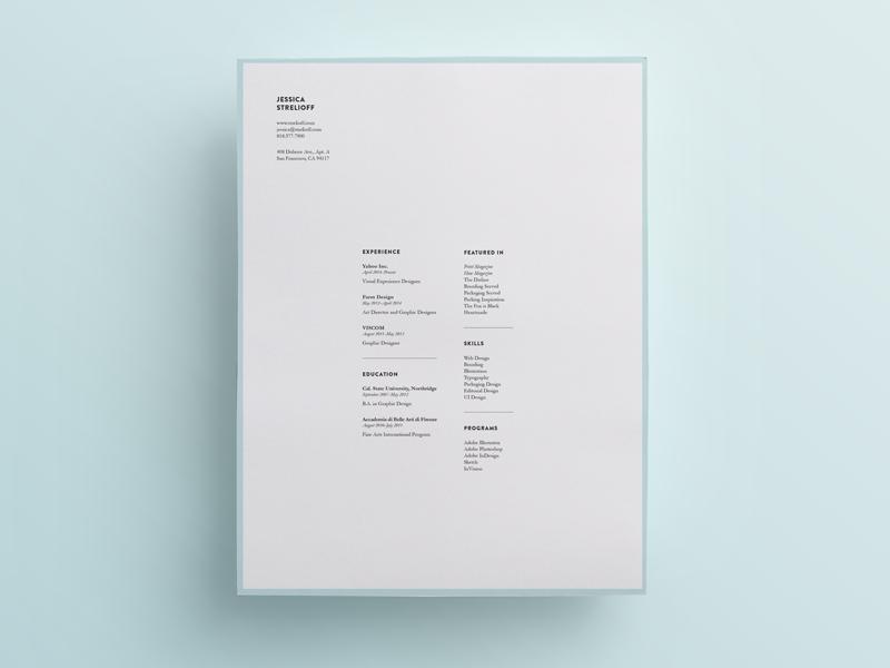 Resume resume type layout clean white minimal design jessica strelioff blue simple