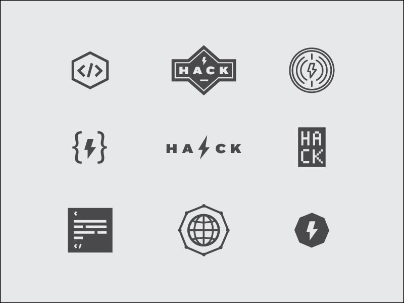 Unused Hack Day Logos logos hack hackday hacker code lightening logo world digital badge jessica strelioff