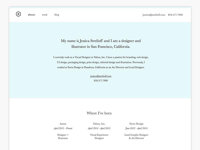 strelioff.com strelioff jessica contact biography resume portfolio web type ui designer branding website