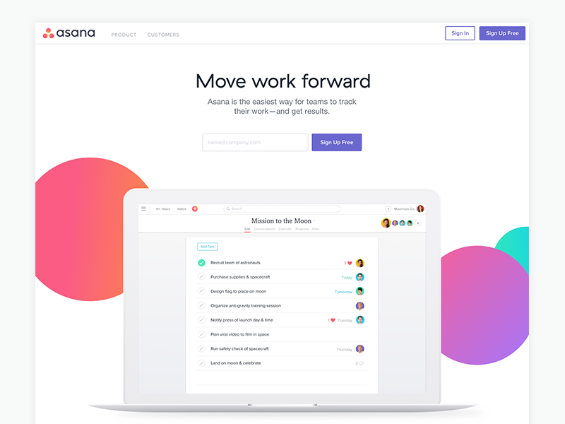 The new asana.com website laptop design redesign branding dots color product page landing page home page asana