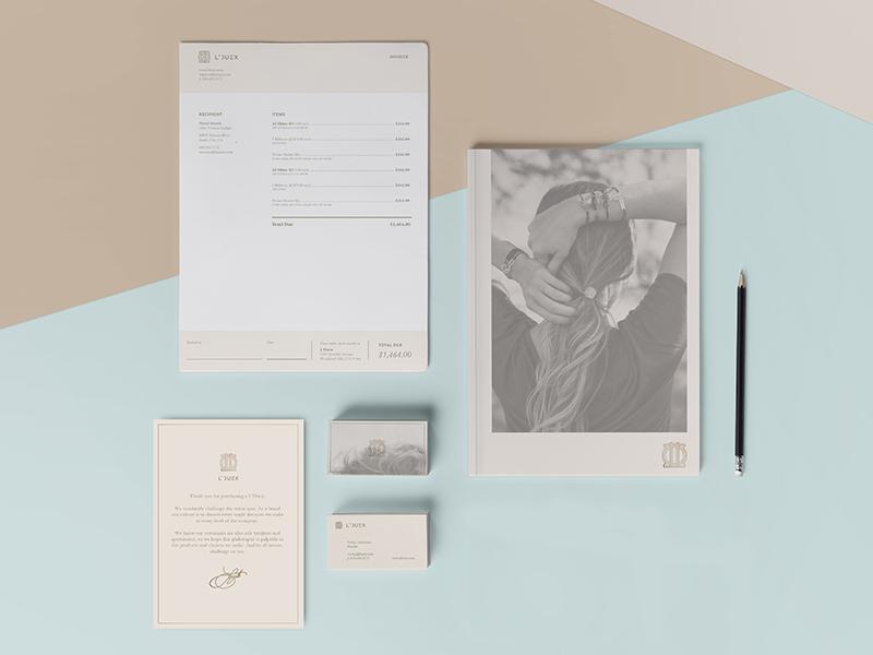 L'Duex Brand System geometric pastel system business cards logo stationery brand