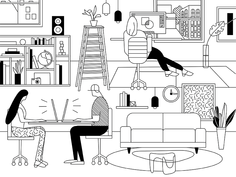 Happy National Coloring Book Day! office work design illustration line black and white coloring book