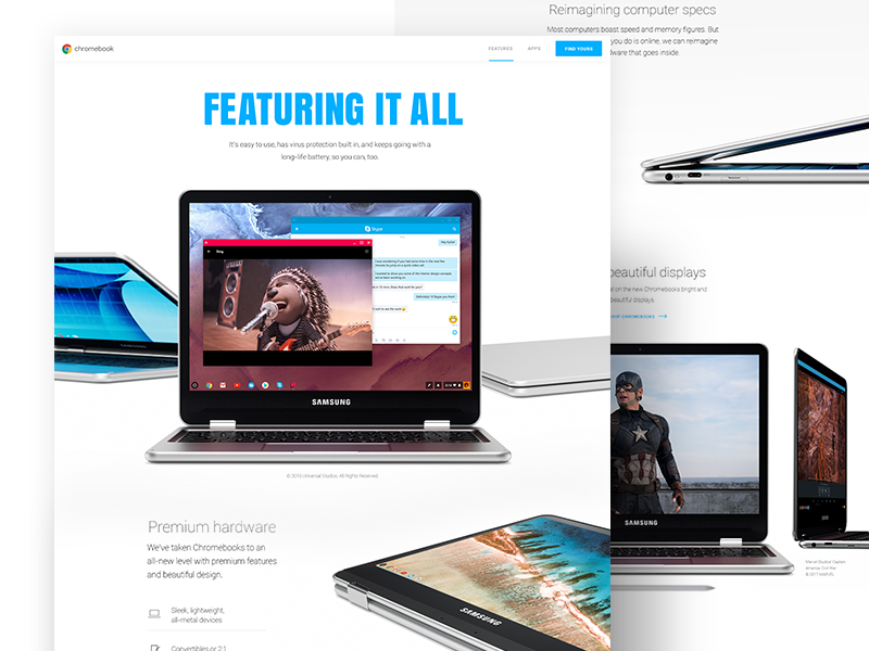 Chromebooks - Features Page website photography layout landing page google devices design chromebooks