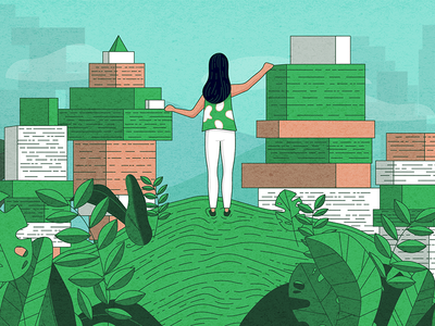 Intercom Illustration blocks. linear nature woman intercom editorial illustration