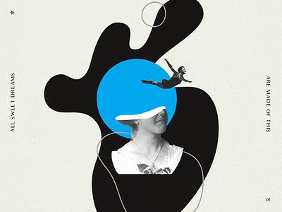 Dreams portrait shapes organic vintage collage surreal dreams