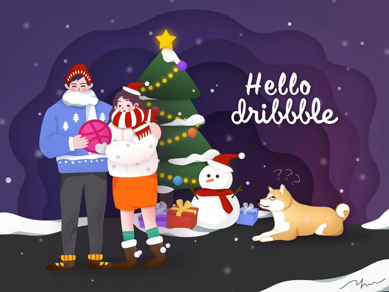 Hello Dribbble christmas 插图 merry christmas hello dribbble