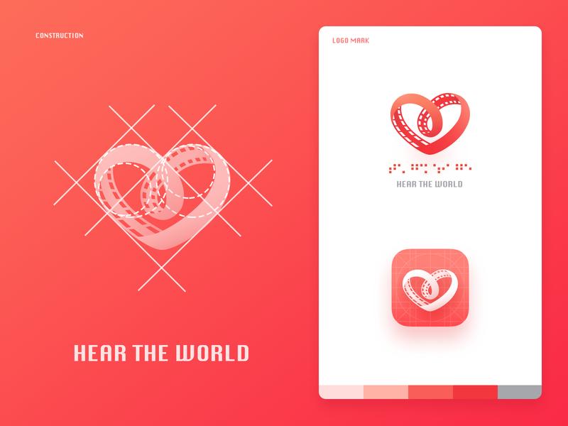 """Hear the world"" logo design hear the world ear hear public welfare blind disability card red heart logo deisgn logo"