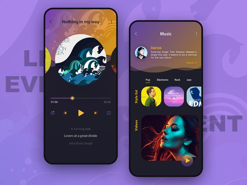 Music player yellow purple music player music app music design ui design ui