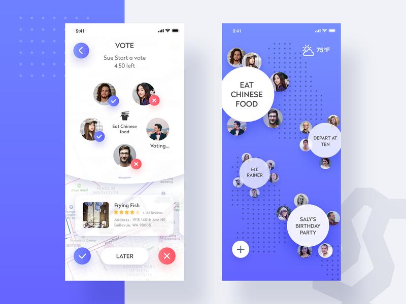 Travel sharing app social map blue sharing travel blue and white app design ui