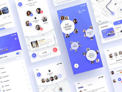 Travel sharing app card map sharing travel blue and white blue app design ui