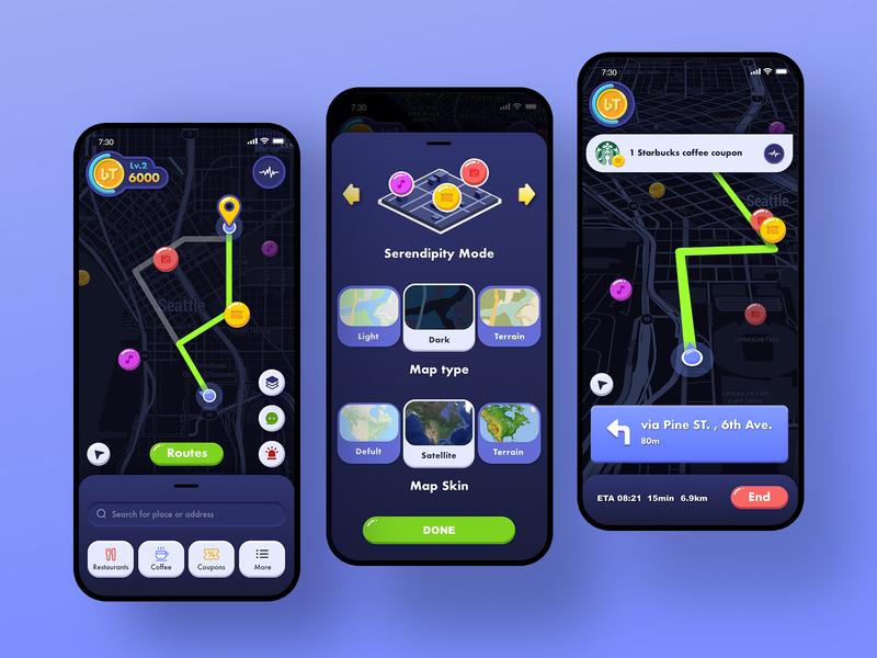 Travel integral app integral card travel sharing map blue app ui design