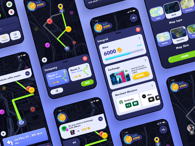 Travel integral app vector illustration integral card travel sharing map blue app ui design
