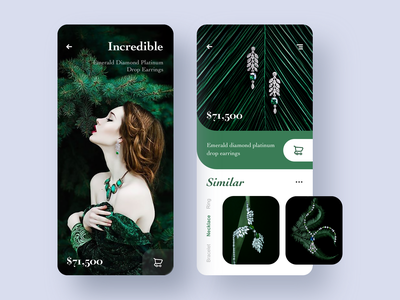Product Page Exploration card app design ui jewelry concept product page green earring