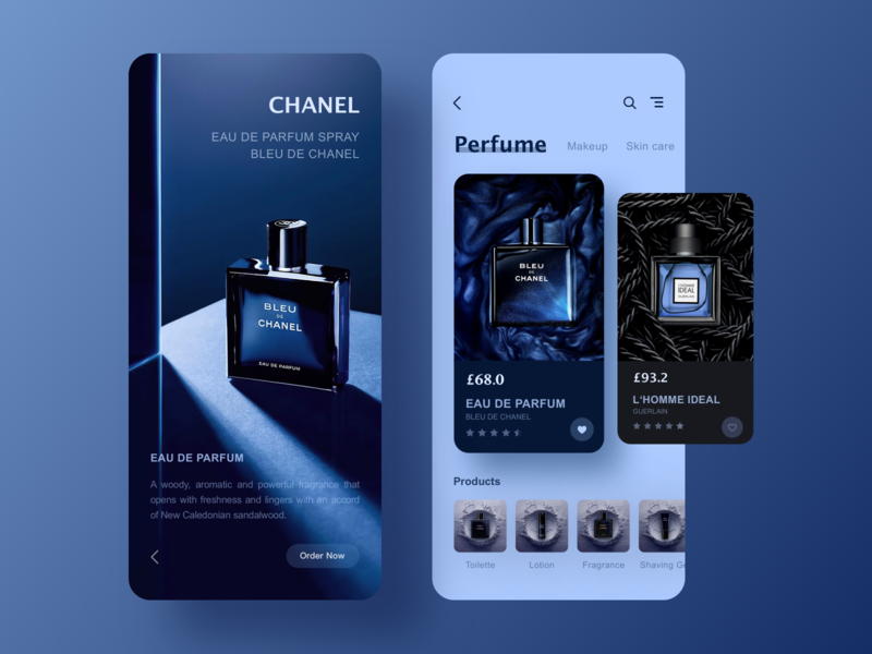 Product Page Exploration perfume product map card blue app ui design