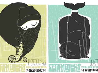 Seth Meyers Portland & Seattle Poster set