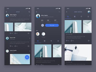 Social APP- dark theme icon social chat 应用 ux ui blue clean dark
