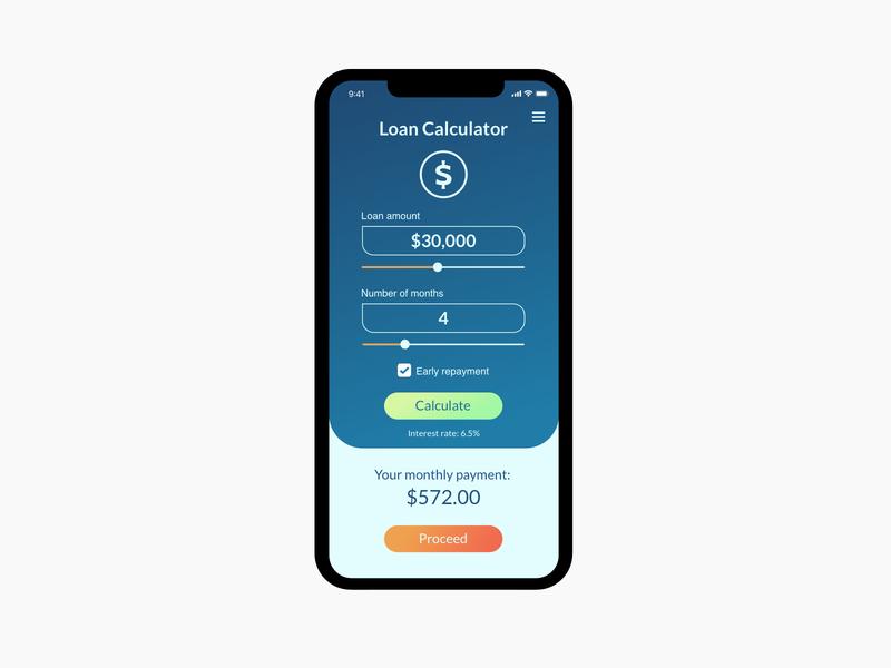 DailyUI challenge #004. Loan Calculator.